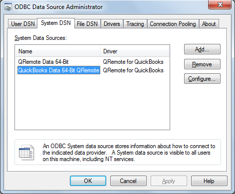 64 Bit Driver Setup – QODBC com Tools for QuickBooks